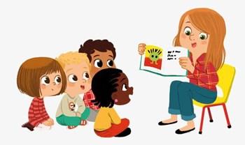 Kindergarten students being read to