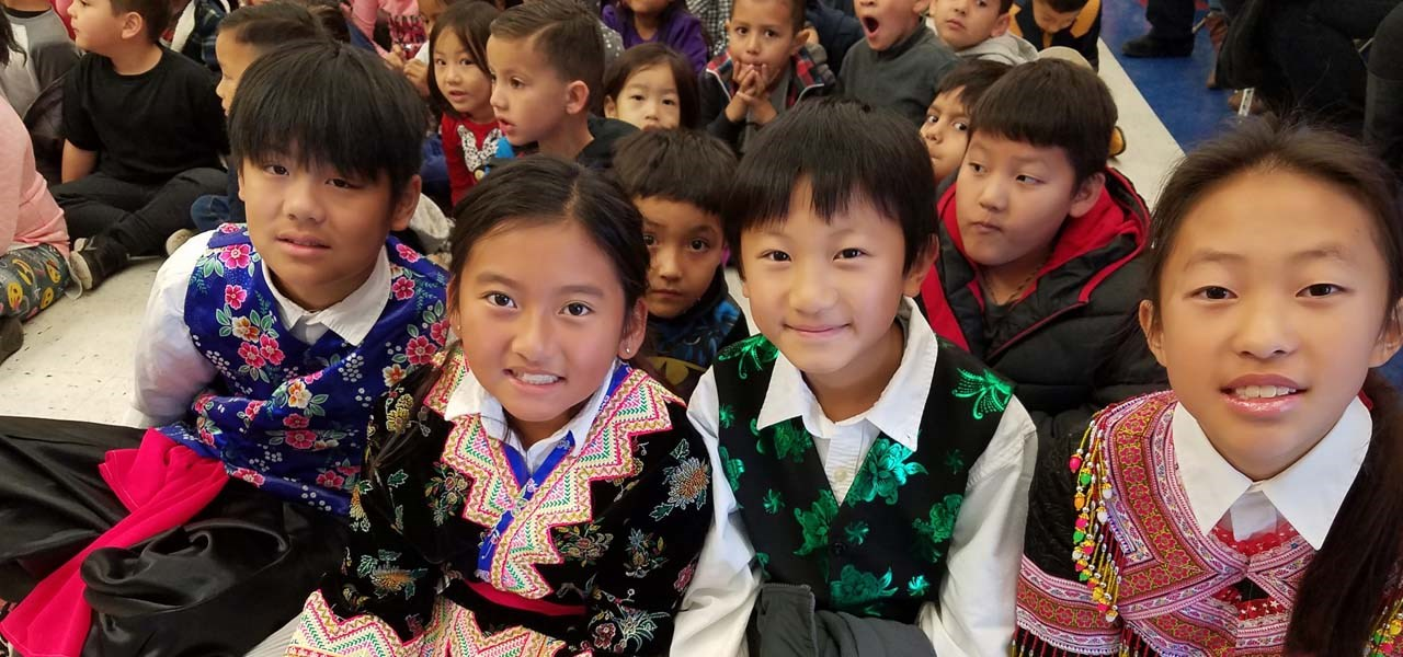 Students in Hmong attire